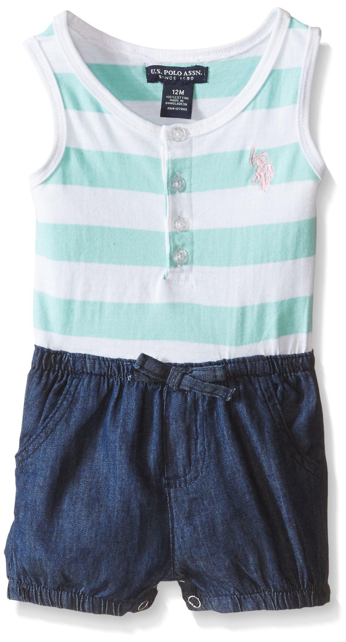 U.S. Polo Assn. Little Girls' Striped Jersey and Denim Short Romper, Mint Jersey, 5