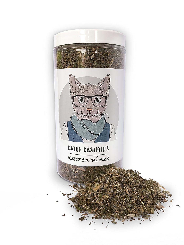 Hierba gatera (para gatos / Catnip) hace a su gato feliz. Paquete XXL de 60g. Excelente calidad: Solo la mejor hierba gatera para su pequeño amor (seca y en pequeños trazos). Util como botana o juegete para gatos. Kater Kasimir
