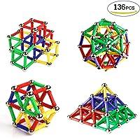 Ausear 136 Piezas Magnetic Sticks Building Block Toys