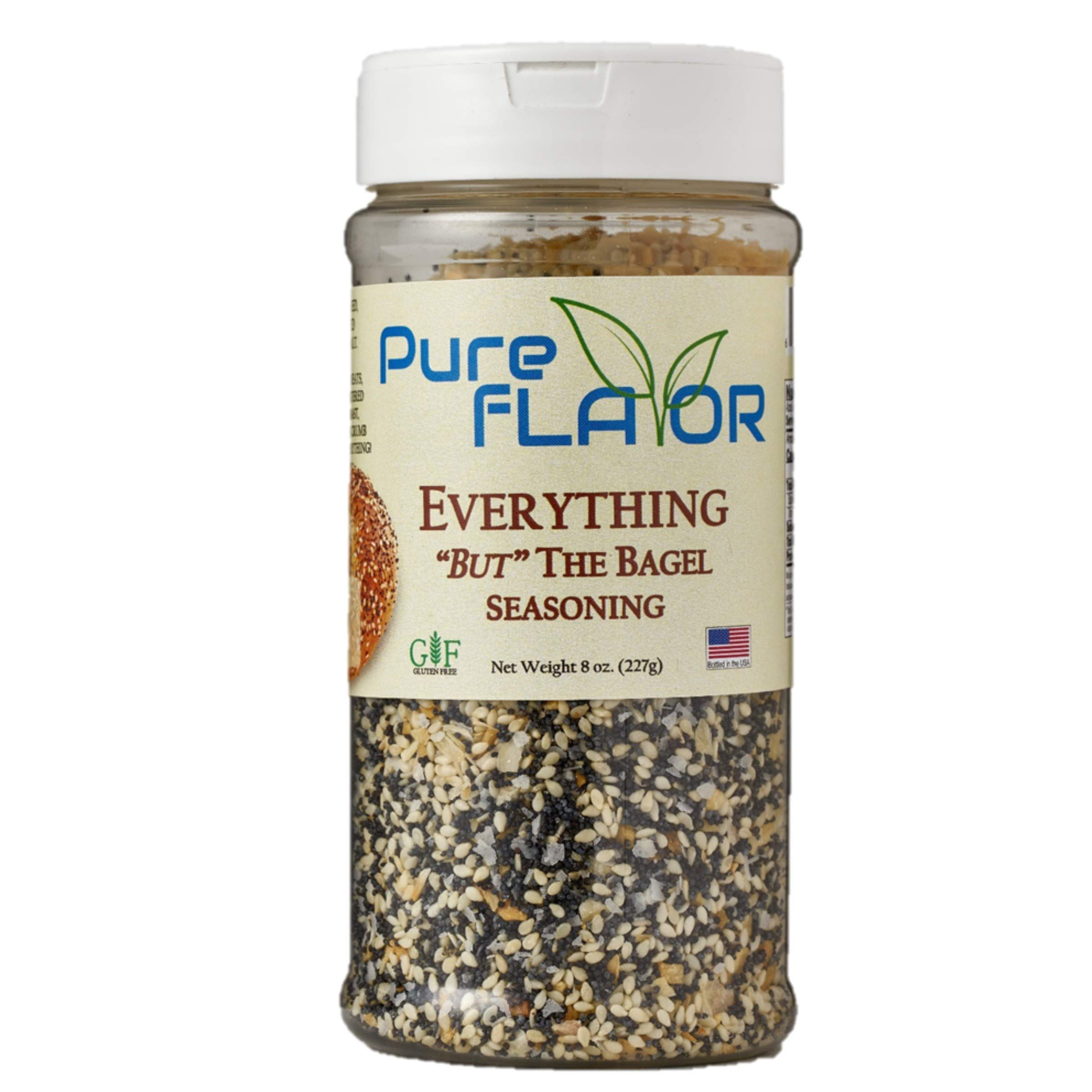 Everything Bagel Seasoning Blend, 8 oz Jar - All Natural, All Purpose Specialty Spice Mix - Sea Salt, Dried Onion, Poppy Seeds, Sesame, Garlic Powder and More