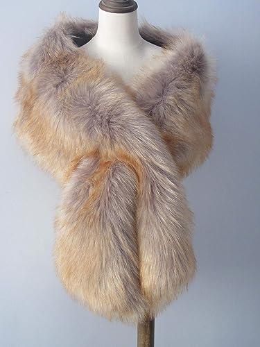a6d11a5661ada Gray with Brown tip faux fur bridal wrap, light brown fur, Wedding ...