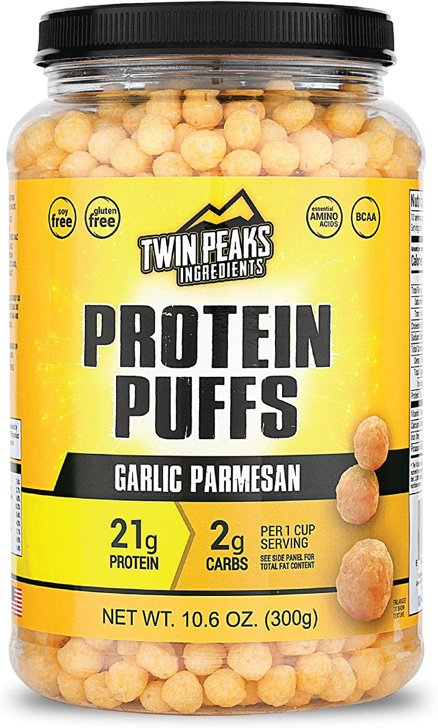 Amazon Com Twin Peaks Low Carb Keto Friendly Protein Puffs Garlic Parmesan 300g 21g Protein 2g Carbs Health Personal Care