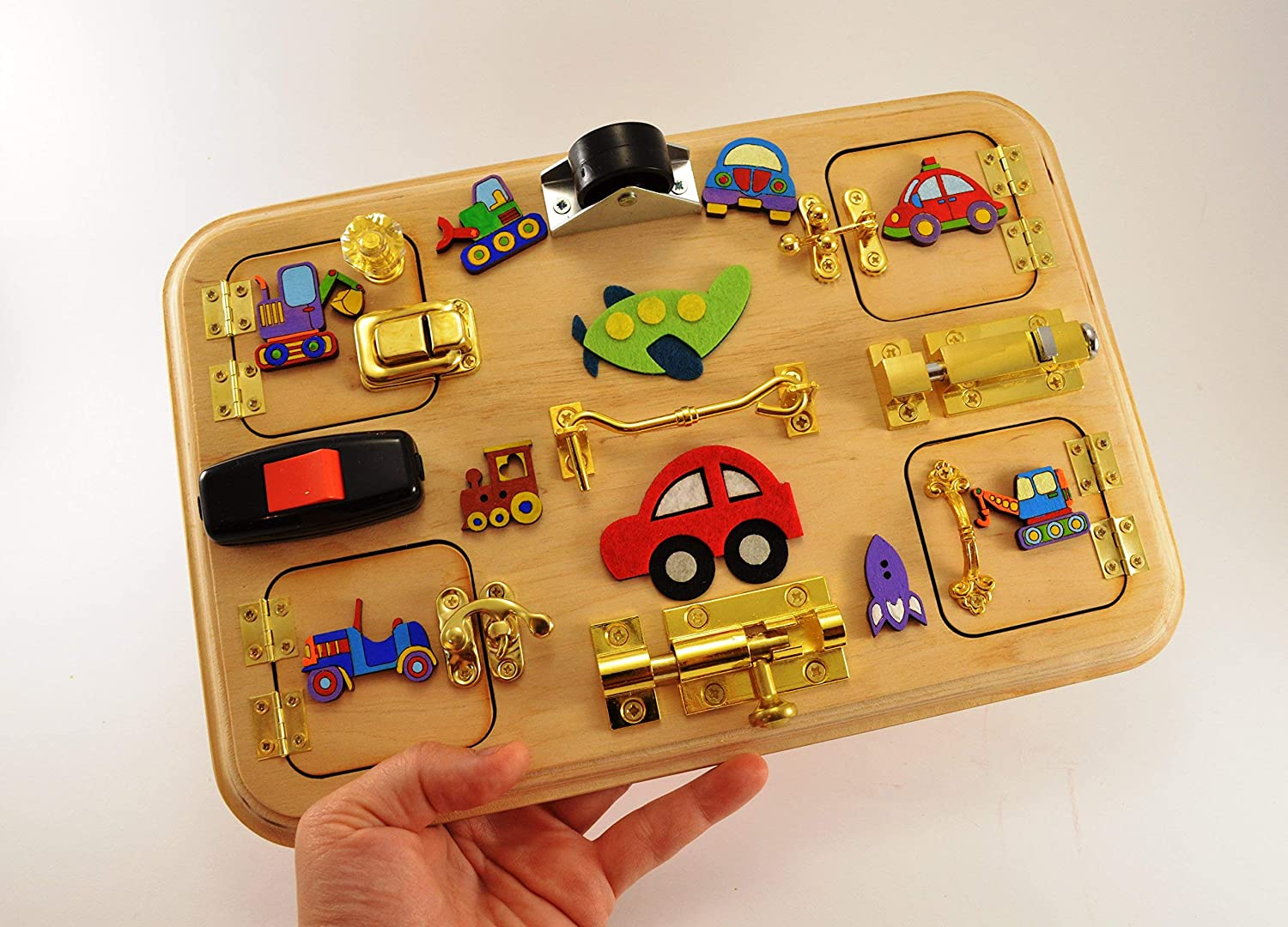 Travel busy board for boys Latch board Busy board Sensory board Gift for boy Baby gifts Christmas baby gifts Halloween baby gifts Toy boy