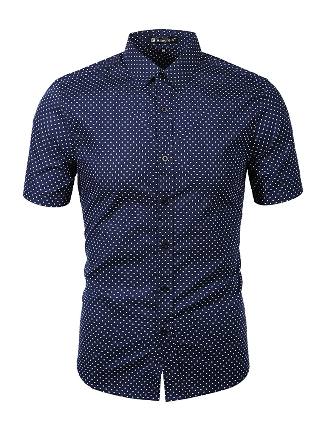 4f011725c uxcell Men Short Sleeves Dots Allover Print Cotton Button Down Shirt at  Amazon Men's Clothing store: