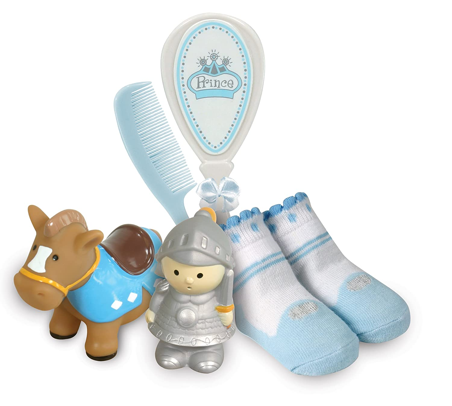 Stephan Baby Bath Squirters, Bootie Socks and Brush/Comb Gift Set, Little Prince 625493