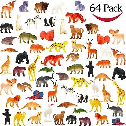 Amazon Com Animal Toy 64 Pack Mini Wild Plastic Animals Models