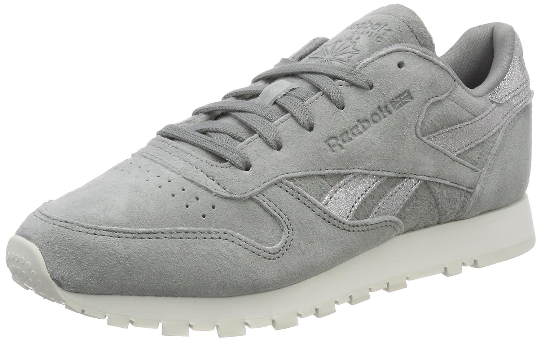 Reebok Cl Lthr Shimmer, Zapatillas de Running para Mujer 38 EU|Gris (Flint Grey/Matte Silver/Chalk 000)