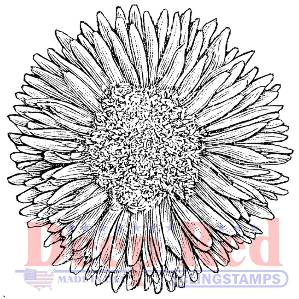 Deep Red Chrysanthemum Rubber Cling Stamp