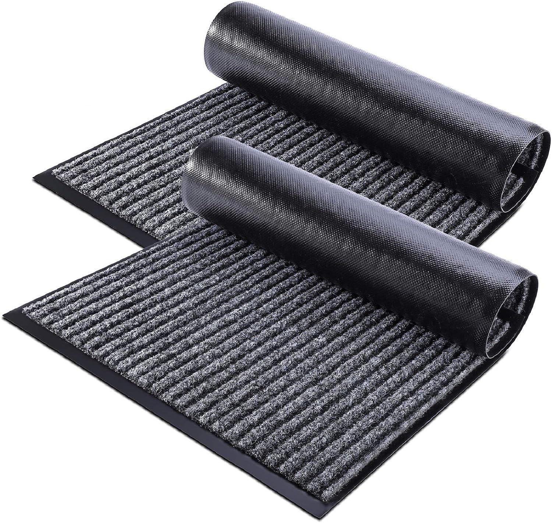 Delxo 2-Pack Striped Door Floor Mat