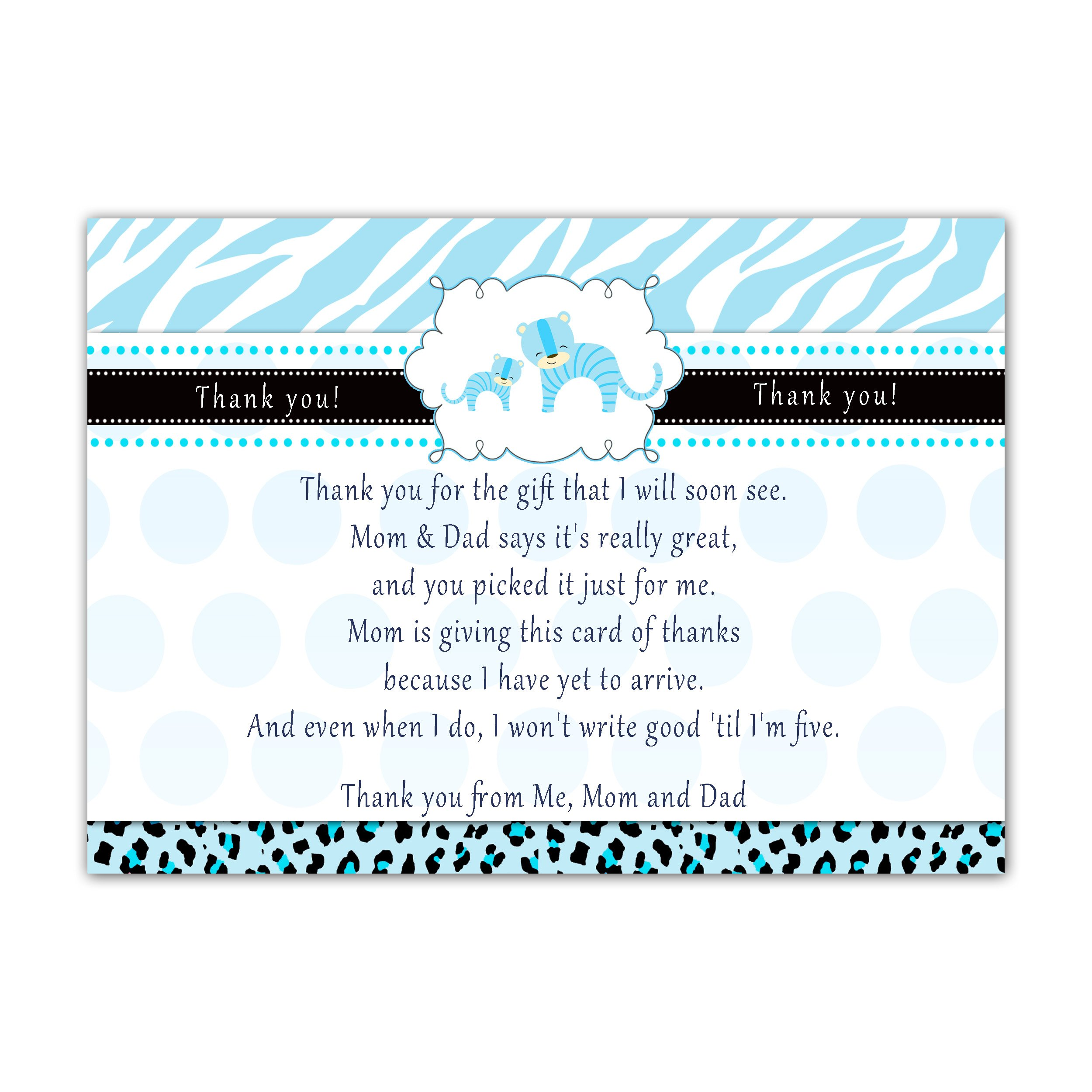 30 Thank You Cards Tiger Cub Baby Boy Shower Personalized Cards Photo Paper