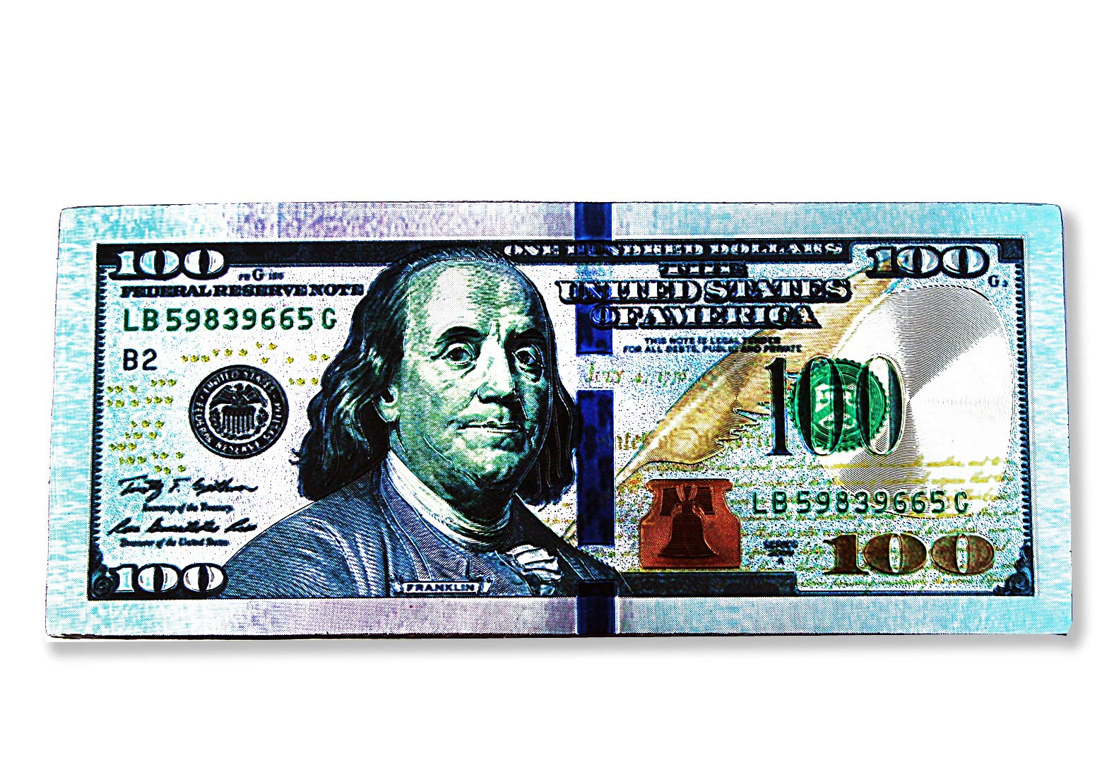 """LUCKY EYE MAGIC – 100 Dollar Bill Refrigerator Magnet, Multicolor Wall Magnet with 100 Dollar Bill Etched in Silver, Green, Bronze Colors, Great Gift, 2.5"""" x 6"""""""