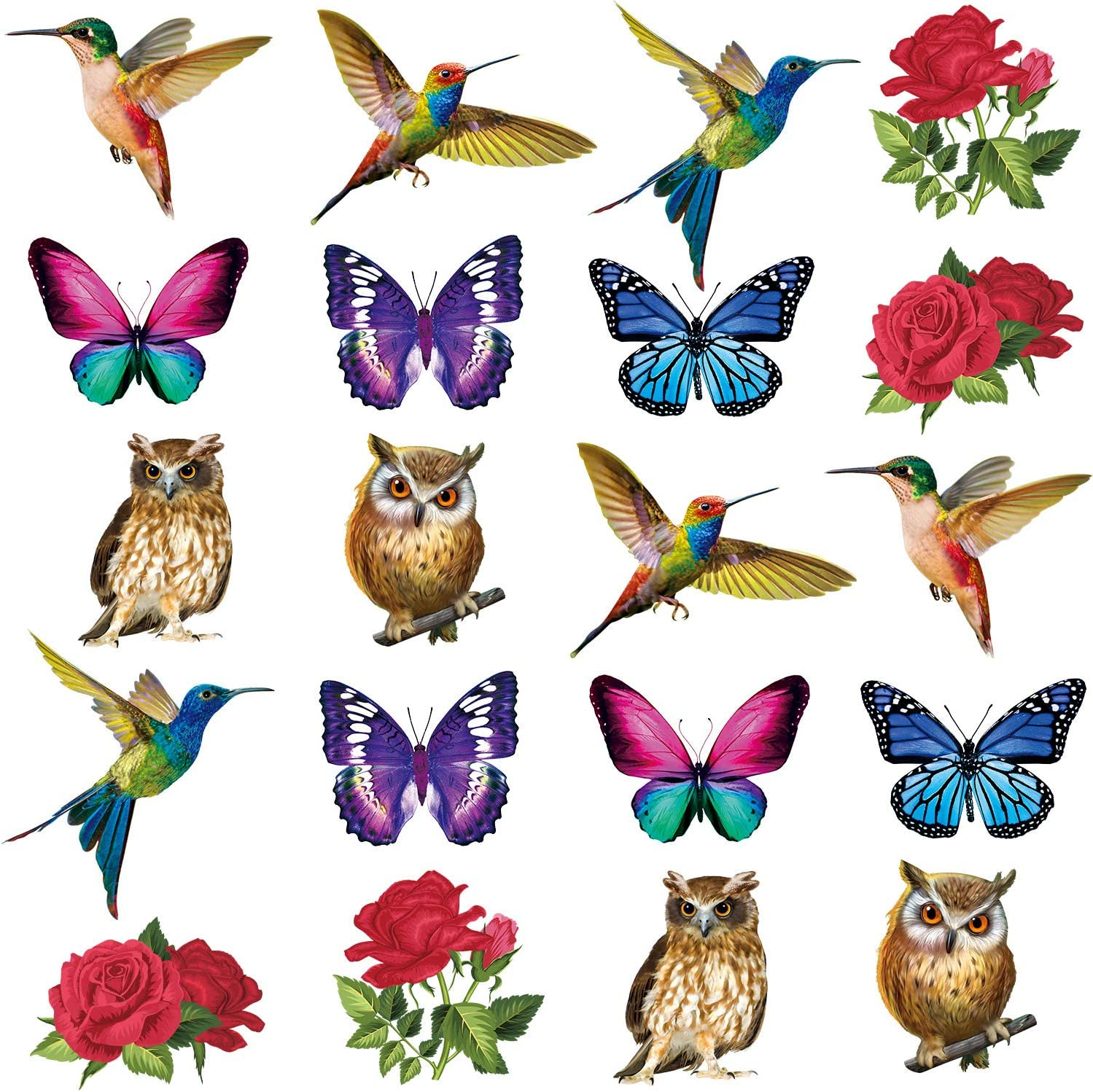 20 Pieces Anti-Collision Window Clings Birds Alert Collision Window Decals Hummingbird Rose Butterfly Owl Cling Decor Static Deterrent Decal Prevent Bird Strikes on Doors Windows Glass