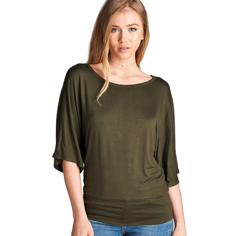 3e9fbf2c61 Women's 3/4 Dolman Sleeve Round Neck Waist Band Blouse T-Shirt Top at  Amazon Women's Clothing store:
