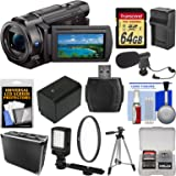 Sony Handycam FDR-AX33 Wi-Fi 4K Ultra HD Video Camera Camcorder with 64GB Card + Hard Case + LED Light + Microphone + Battery/Charger + Tripod Kit