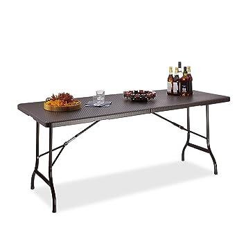 Relaxdays Table de jardin pliable BASTIAN optique rotin grande table ...