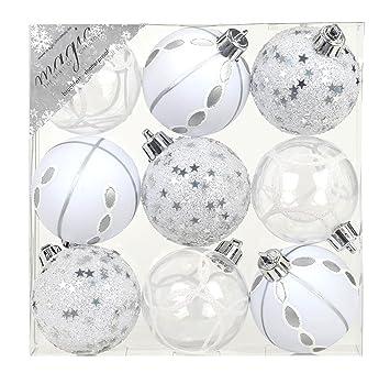 Weihnachtskugeln Weiß.9 Stk Pvc Christbaumkugeln 6cm Silber Weiß Ornament Dekor Kunststoff Bruchfest Dekokugeln Weihnachtskugeln Baumkugeln Baumschmuck Set