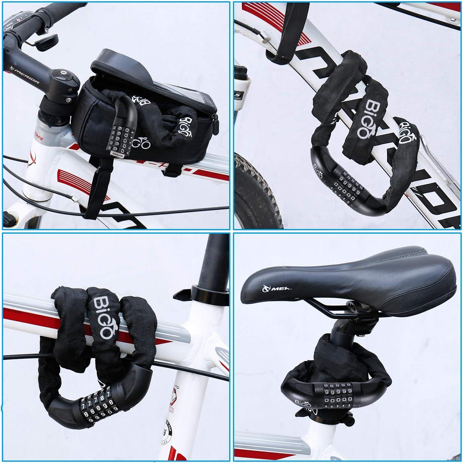 BIGO Candado de Bicicleta Seguridad Candado de Cadena Mejor Combinaci/ón Cable de Bloqueo antirrobo Alta Seguridad 100cm para la Bicicleta al Aire Libre-Negro