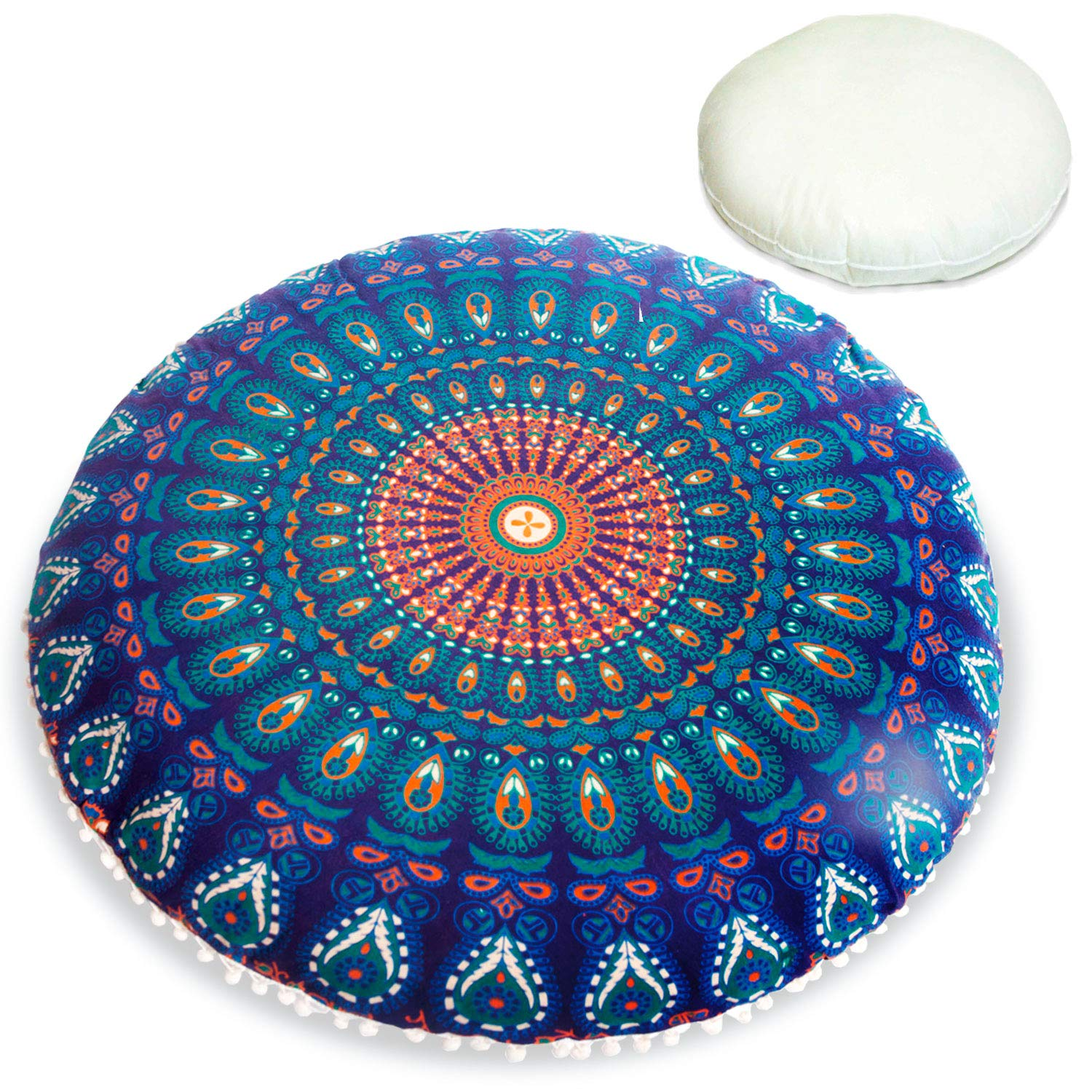 Bohemian Floor Cushion –STUFFED–Luxury, Artisan Room Décor Pouf for Meditation, Yoga, and Boho Chic Seating Area Floor Pillow – Accent Your Living Room, Bedroom, More – Handmade in India by Mandala Life ART