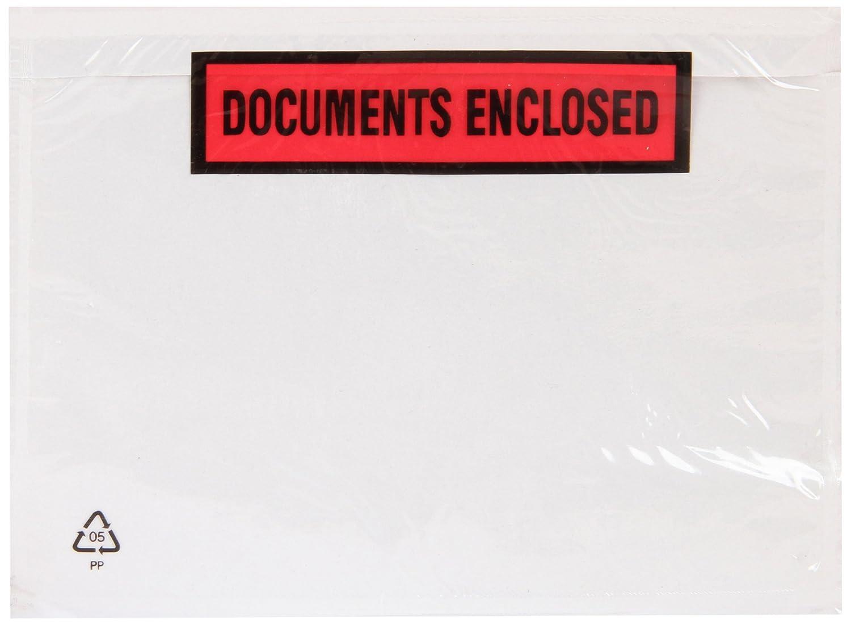 Purely - Buste stampate con chiusura adesiva, scritta in inglese'Documents Enclosed', formato A6, 168 x 126 mm, confezione da 100 scritta in ingleseDocuments Enclosed Blake Envelopes PDE22/100 PR