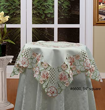 Creative Linens Embroidered Rose Daisy Floral Cutwork Tablecloth 33u0026quot;  Square Ivory Topper Spring