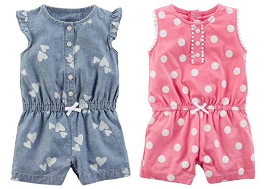 cf39fb768ed3 Amazon.com  Carter s Set Of 2 Baby Girl s Shorts Rompers (12 Months ...
