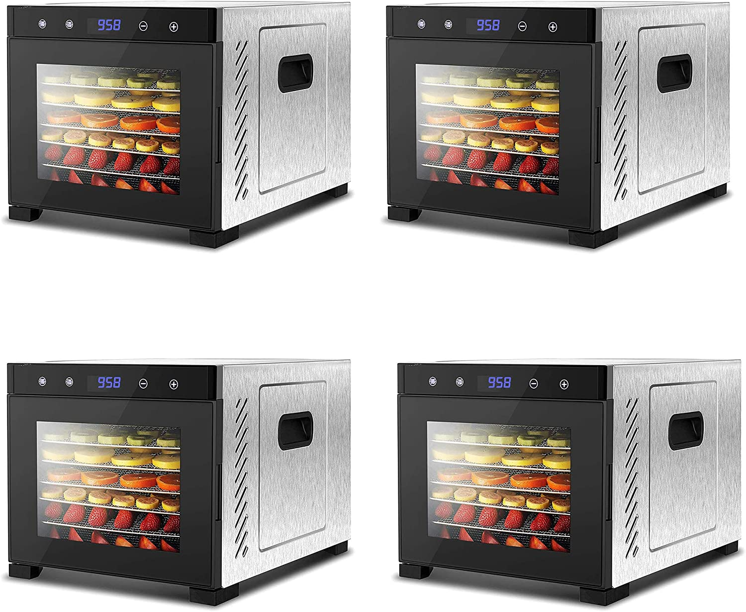 NutriChef Electric Countertop 600 Watts Multi Tier Food Dehydrator Machine with 6 Stainless Steel Trays, Digital Timer, and Temperature Control, Silver (4 Pack)