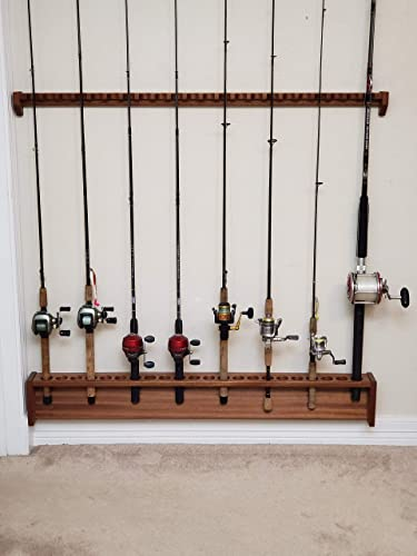 Amazon Com Rod Rack Wall Mount Fishing Pole Holder Solid Mahogany Wood Large Versatile Compact Handmade