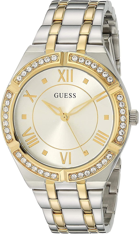 GUESS Reloj analógico de cuarzo para mujer con correa de acero inoxidable, plateado, 18 (Modelo: GW0033L4)