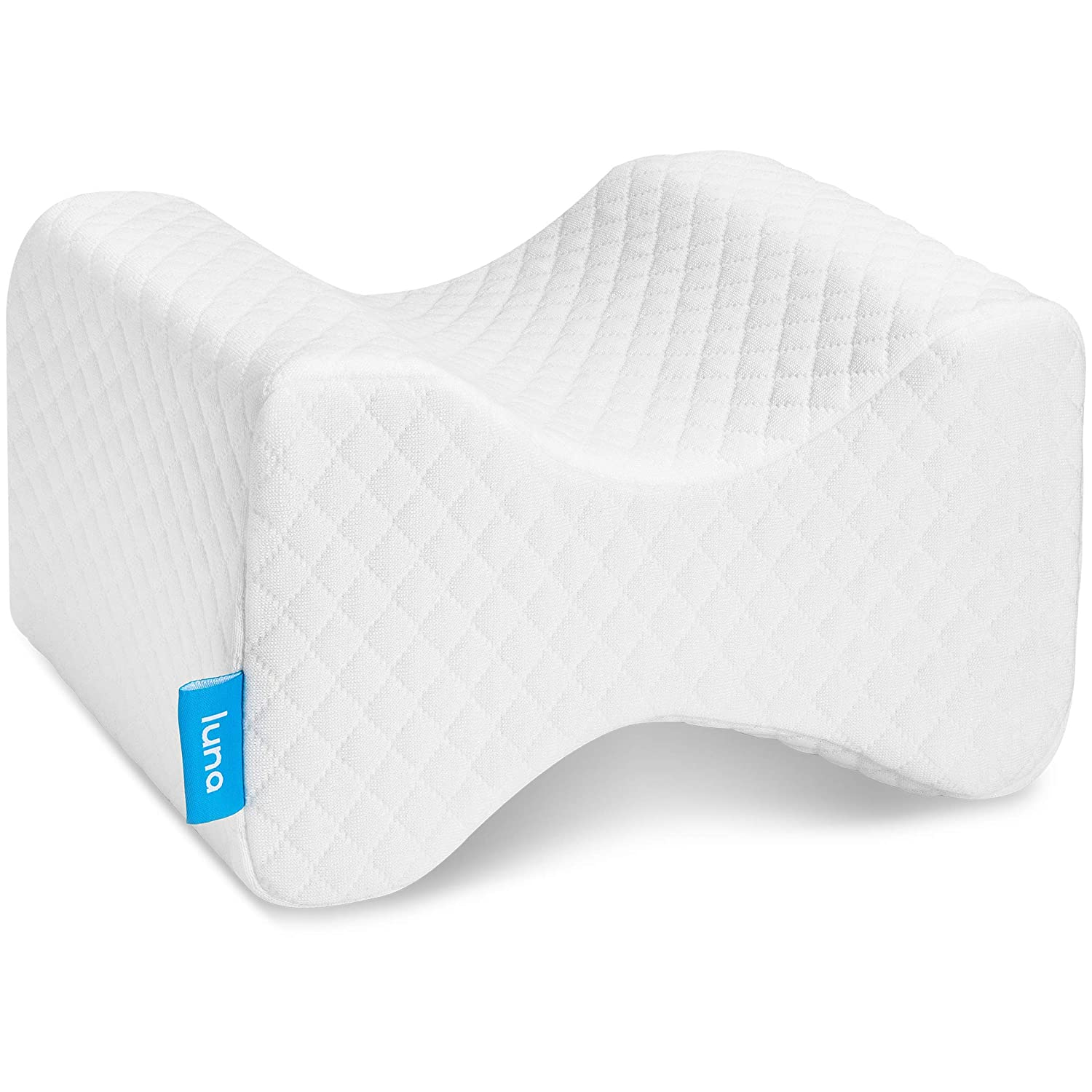 Luna Orthopedic Knee Pillow for Sciatica Relief, Back Pain, Leg Pain, Pregnancy, Hip and Joint Pain | Memory Foam Wedge Contour for Side, Back & Side Sleepers | CertiPUR-US Certified & Designed in USA