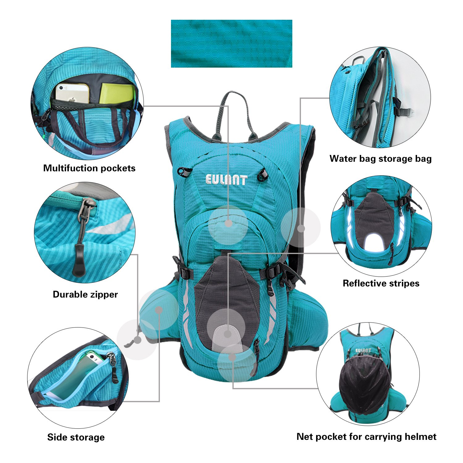 EULANT Hydration Backpack Multi-Function Riding Backpack for Hiking Running Cycling Camping and Mountain Outdoor Air Director Back Pane for Kids Women and Men Not Included Water Bladder