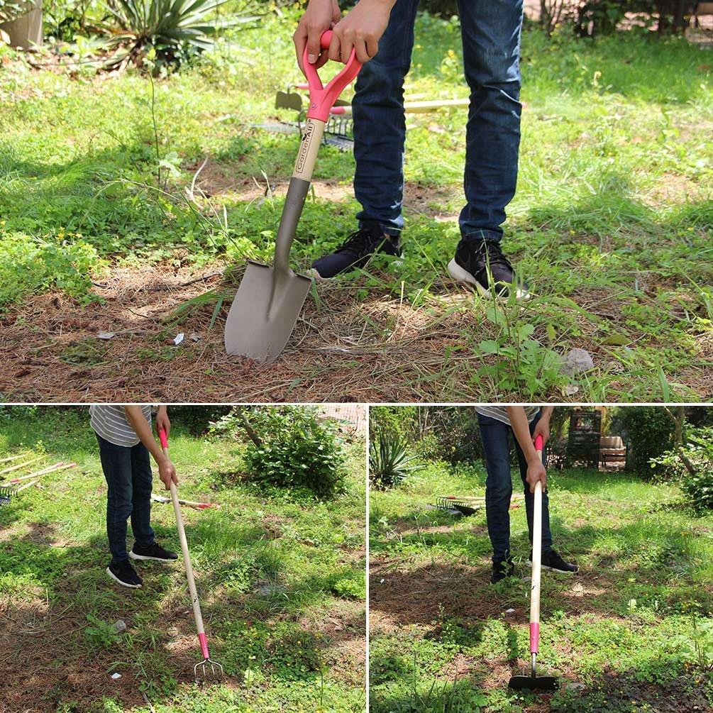 GardenAll 7-Pieces Women Garden Tools Set- Include 14Tine Bow Rake/11T Steel Rake/24T Steel Rake/Round Point Shovel/4 Tine Cultivator/Mini Round Point Shovel/Forged Garden Hoe by GardenAll (Image #5)