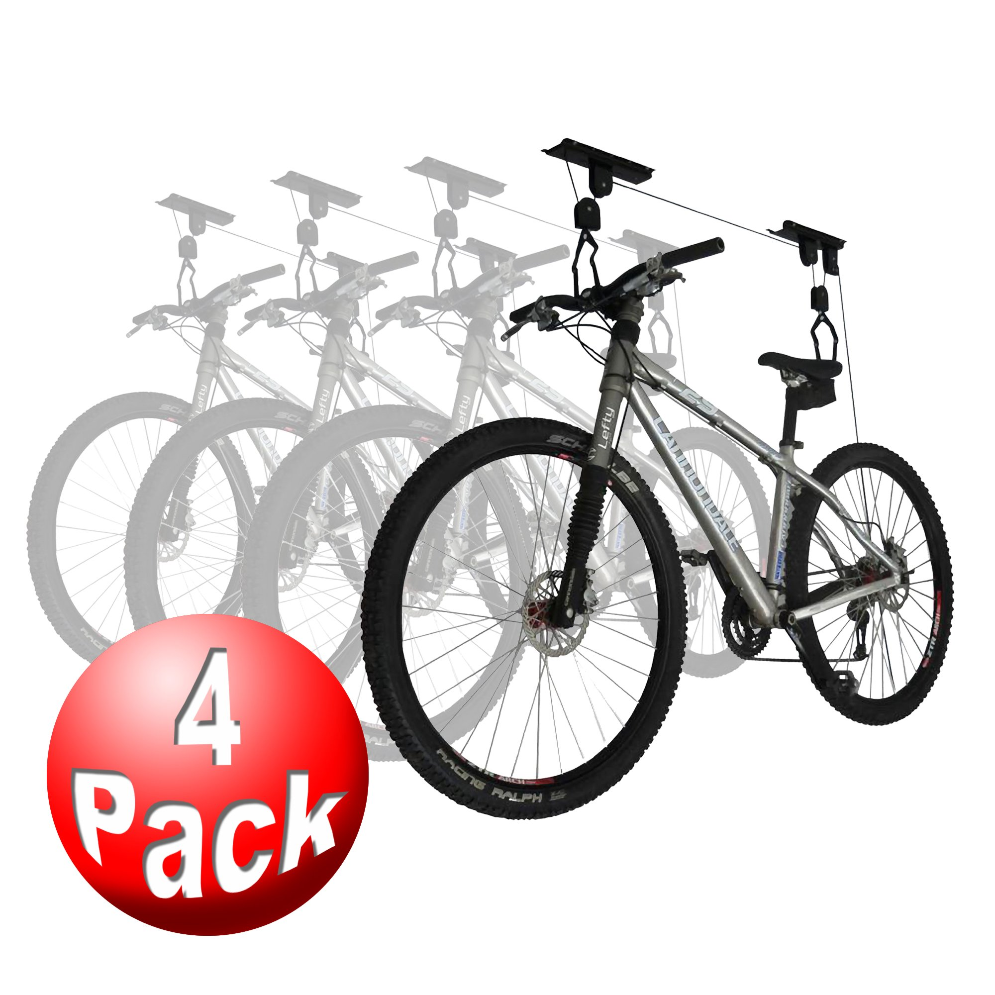 RAD Sportz Bicycle Hoist 4-Pack Quality Garage Storage Bike Lift with 100 lb Capacity Even Works as Ladder Lift Premium Quality by RAD Cycle Products (Image #1)