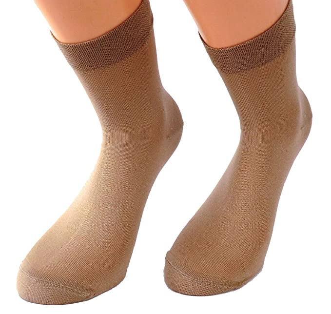 Mujer Calcetines De Vestir Corto - algodón, beige, 78% algodón 19% poliamida