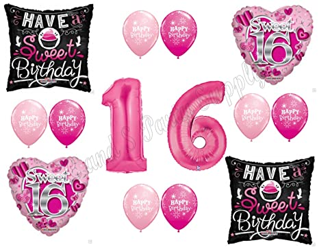 bf61ccb200 Image Unavailable. Image not available for. Color: SWEET 16 Sixteen  Birthday Balloons Decoration Supplies Party ...