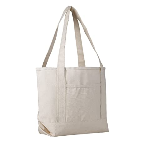 34c40758da4e Canvas Boat Tote Bag - 18 inch - Wide Heavy Duty Sturdy & Reusable with  Inside Zipper Pocket Cotton Canvas Beach Weekender Travel Luggage Totes for  ...