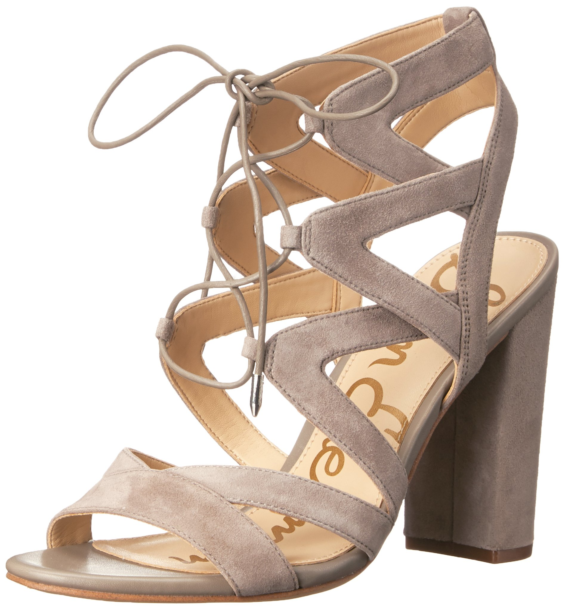 Sam Edelman Women's Yardley Heeled Sandal, Putty Suede, 7 M US by Sam Edelman