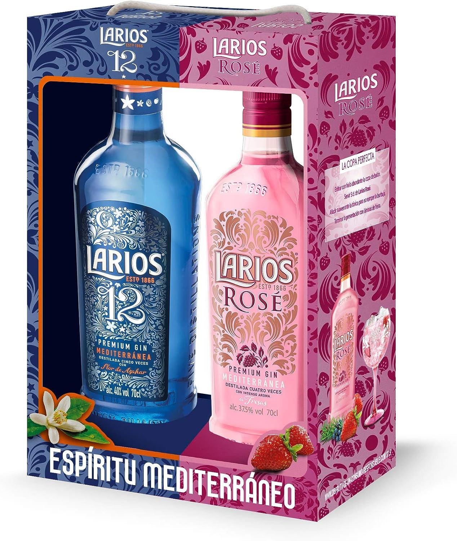 Larios 12 + Rosé - Ginebra Premium Mediterránea Pack de 2, 40 ...