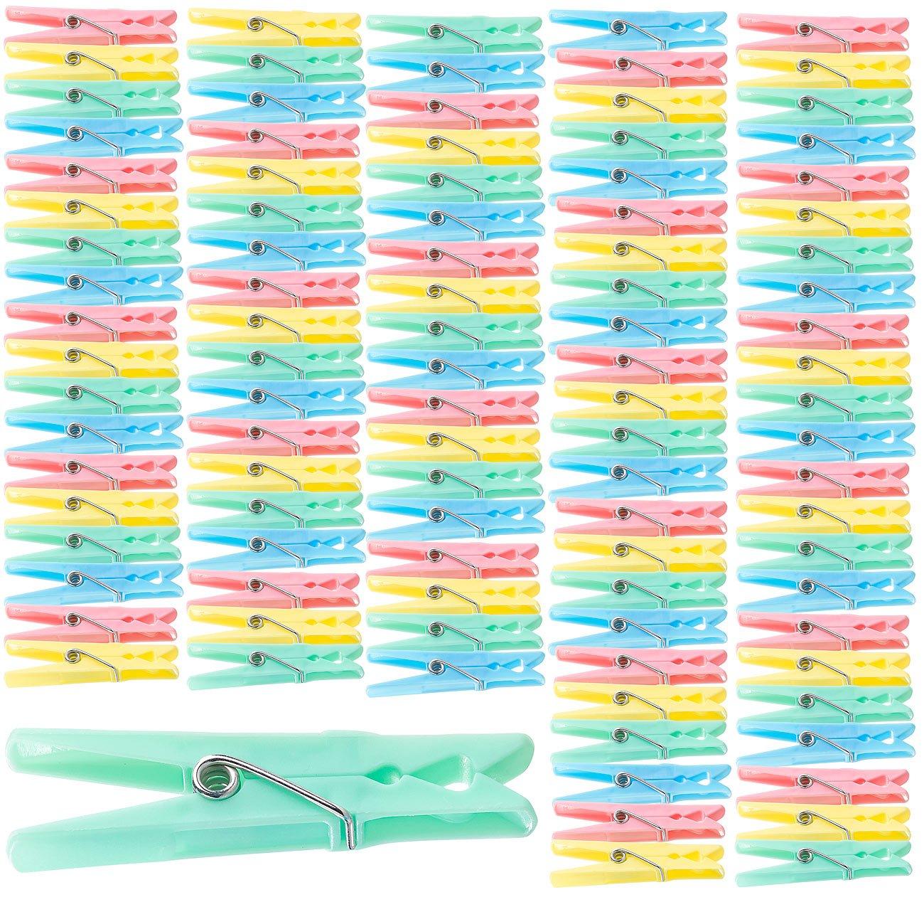Bunte W/äscheklammern aus Kunststoff 7 cm 100 St/ück in 4 Farben PEARL W/äschklammern