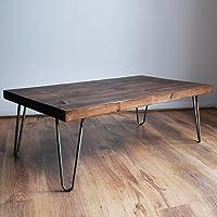 Rustic Vintage Industrial Solid Wood Coffee Table-Black/Bare Metal Hairpin Legs, Dark Wood