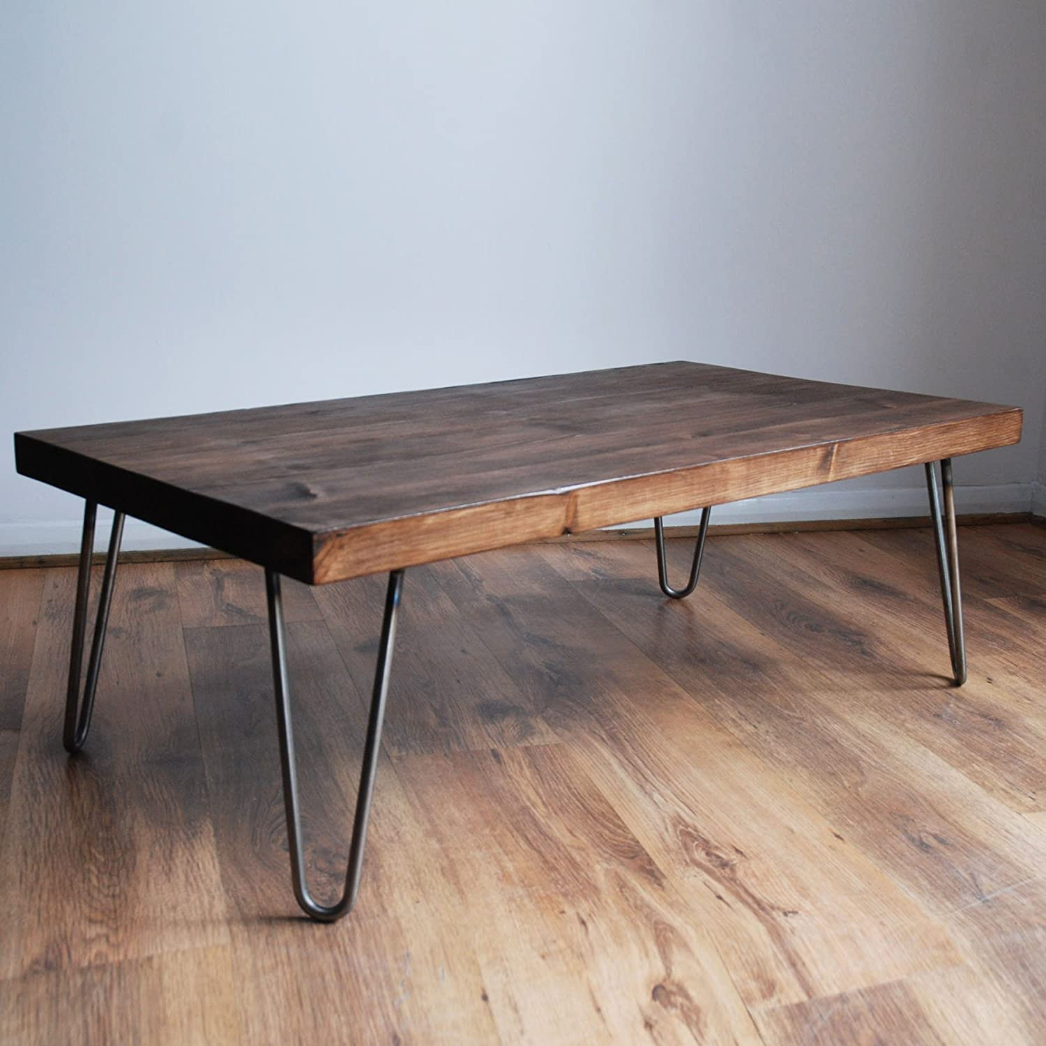 Rustic Vintage Industrial Solid Wood Coffee Table Black Bare Metal