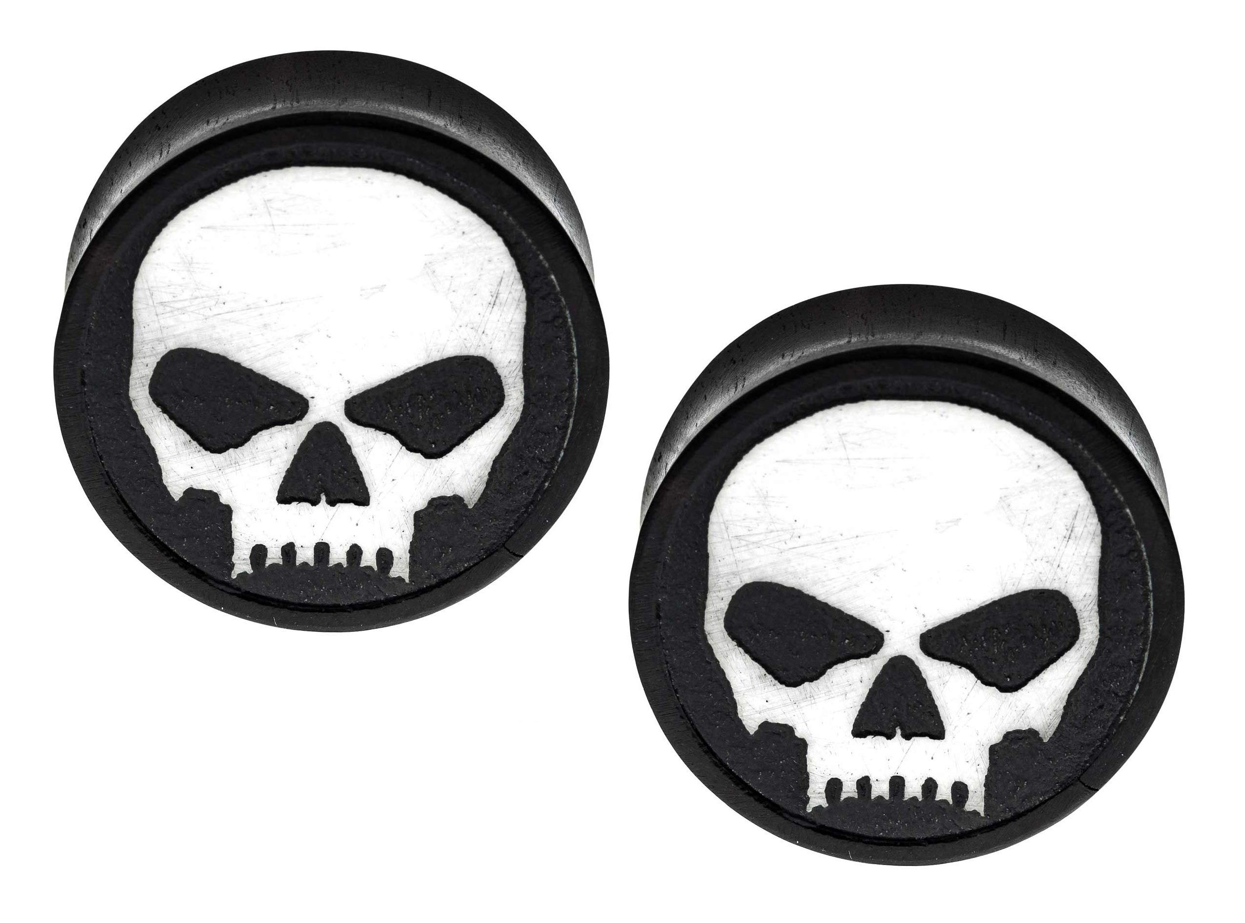 Pierced Owl White Skull Iron Wood Front-Facing Saddle Plugs, Sold as a Pair (12mm (1/2'')) by Pierced Owl
