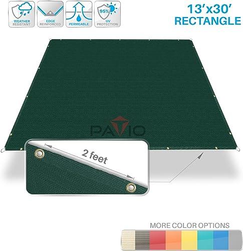 Patio Paradise 13 x 30 Straight Edge Sun Shade Sail, Green Rectangle Outdoor Shade Cloth Pergola Cover UV Block Fabric – Custom 3 Year Warrenty