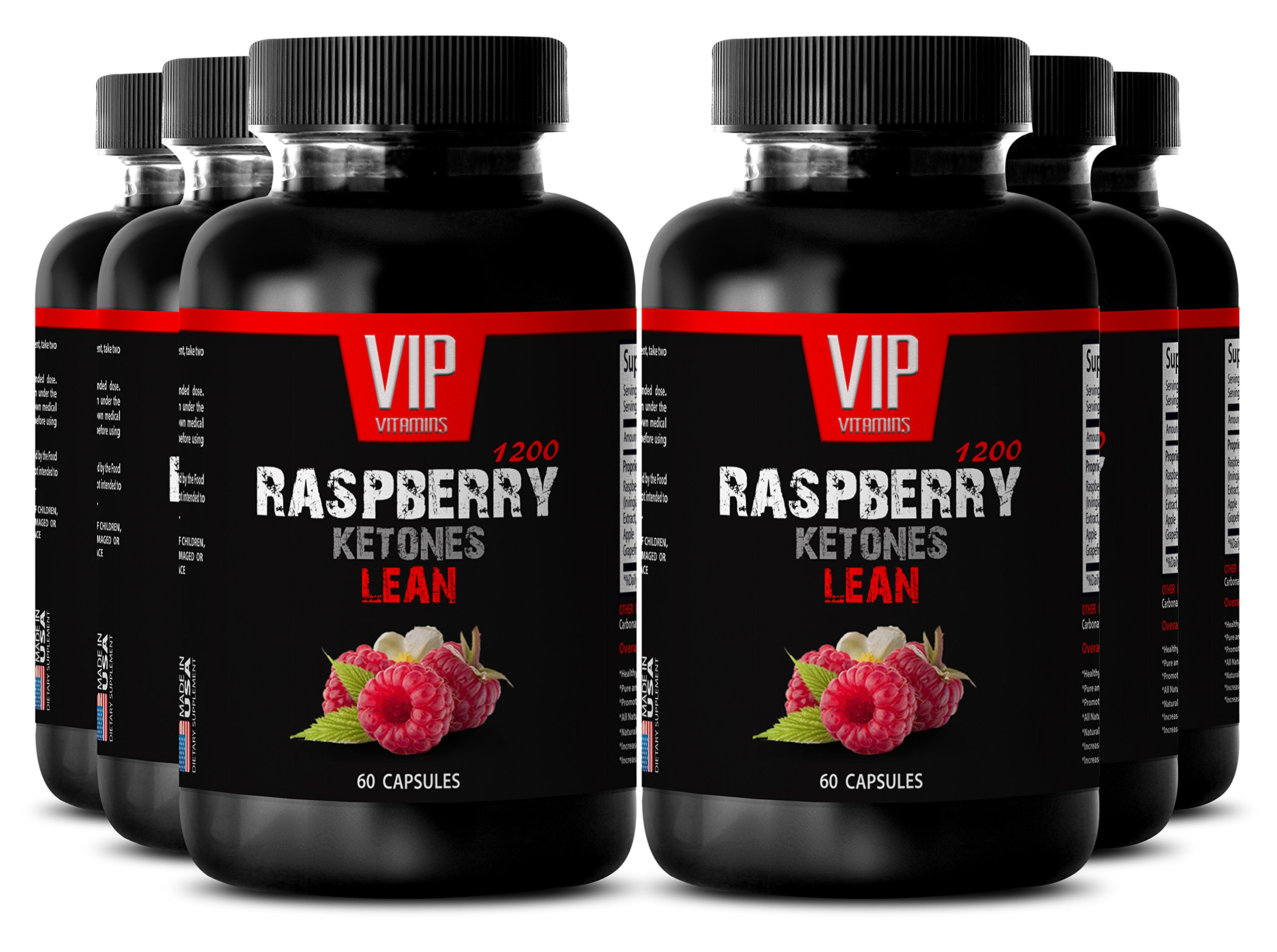 Liver health supplements - RASPBERRY KETONES LEAN 1200 EXTRACT - Liver support - 6 Bottles 360 Capsules