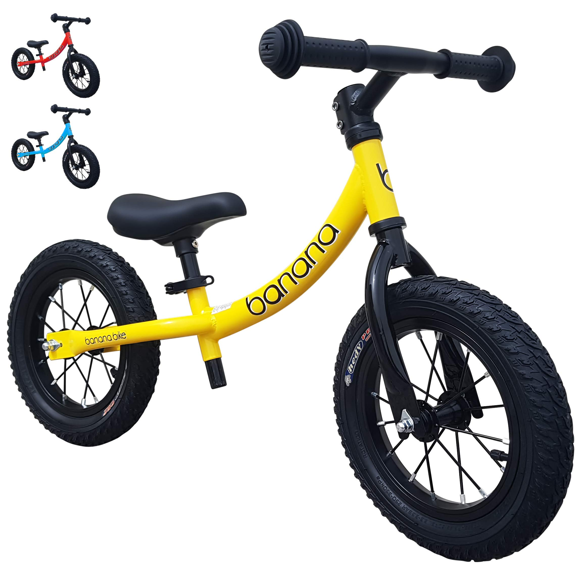 Banana Bike GT - Balance Bike with 12'' Alloy Wheels for Kids 2, 3, 4, 5 Year Olds (Yellow New)
