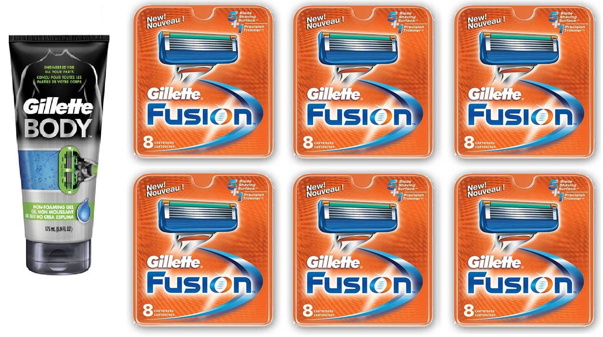 Gillette Body Non Foaming Shave Gel for Men, 5.9 Fl Oz + Fusion Refill Blades 8 Ct (6 Pack) + FREE Assorted Purse Kit/Cosmetic Bag Bonus Gift