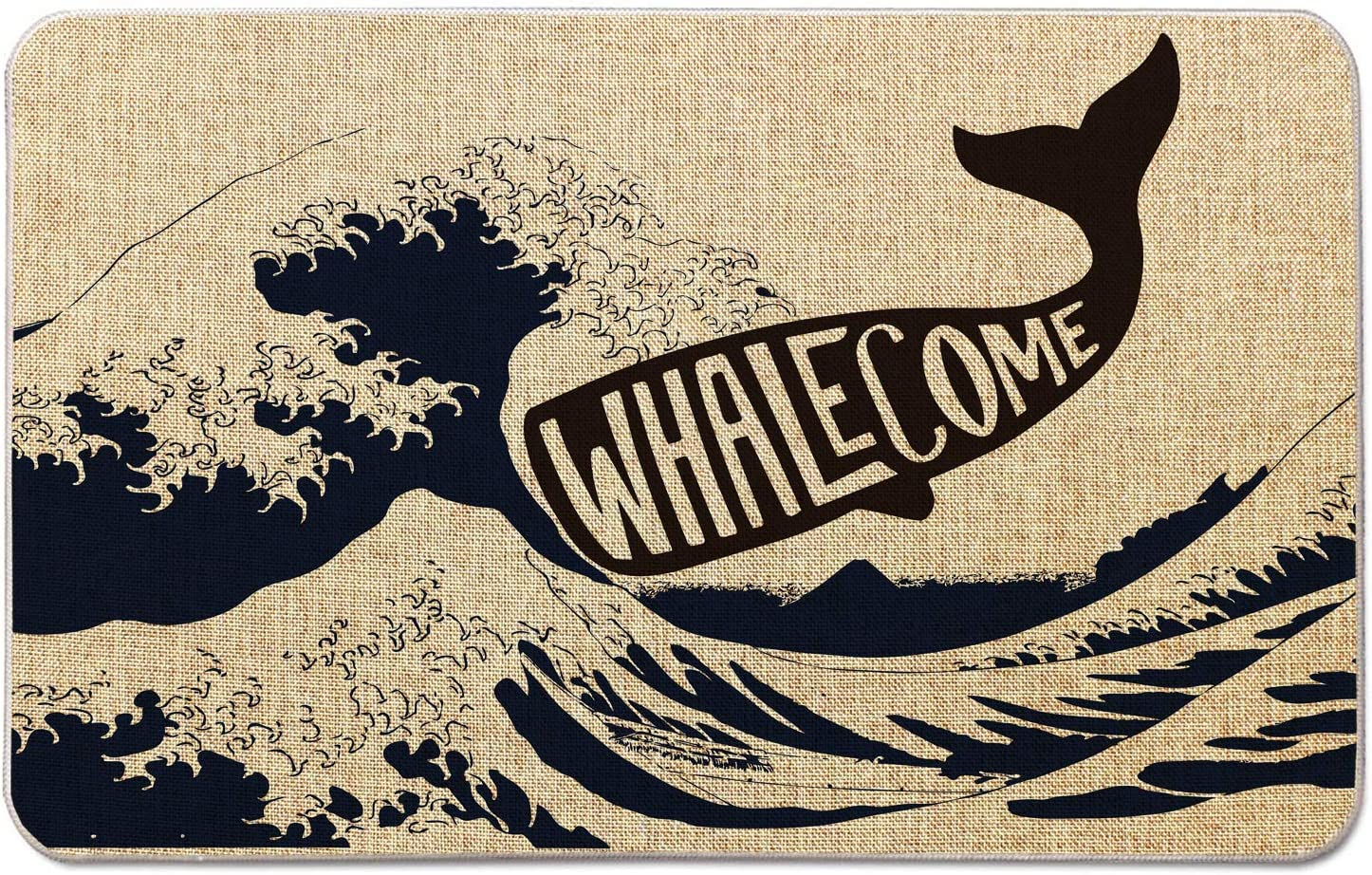 Welcome Mat for Front Door Farmhouse Rustic Decorative Entryway Outdoor Floor Doormat Durable Burlap Outdoor Rug   Whale Come