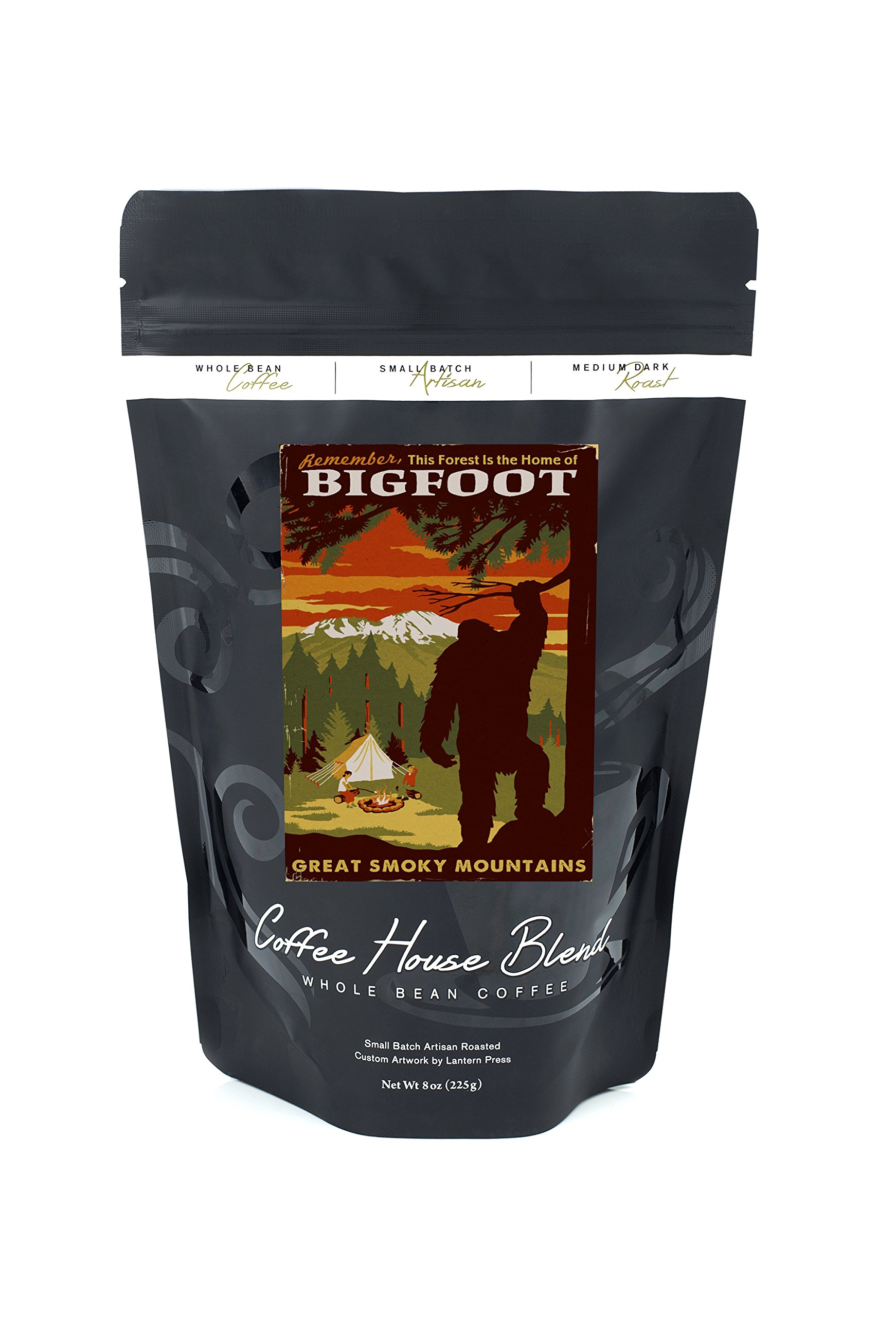 Great Smoky Mountains, Tennessee - Home of Bigfoot (8oz Whole Bean Small Batch Artisan Coffee - Bold & Strong Medium Dark Roast w/ Artwork)