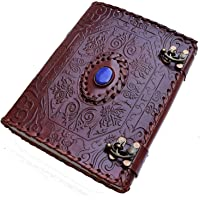 Shore Store Pure Genuine Real Vintage Leather Handmadepaper Owl Stone Notebook Dairy for Office Home to Write Poem Brown…