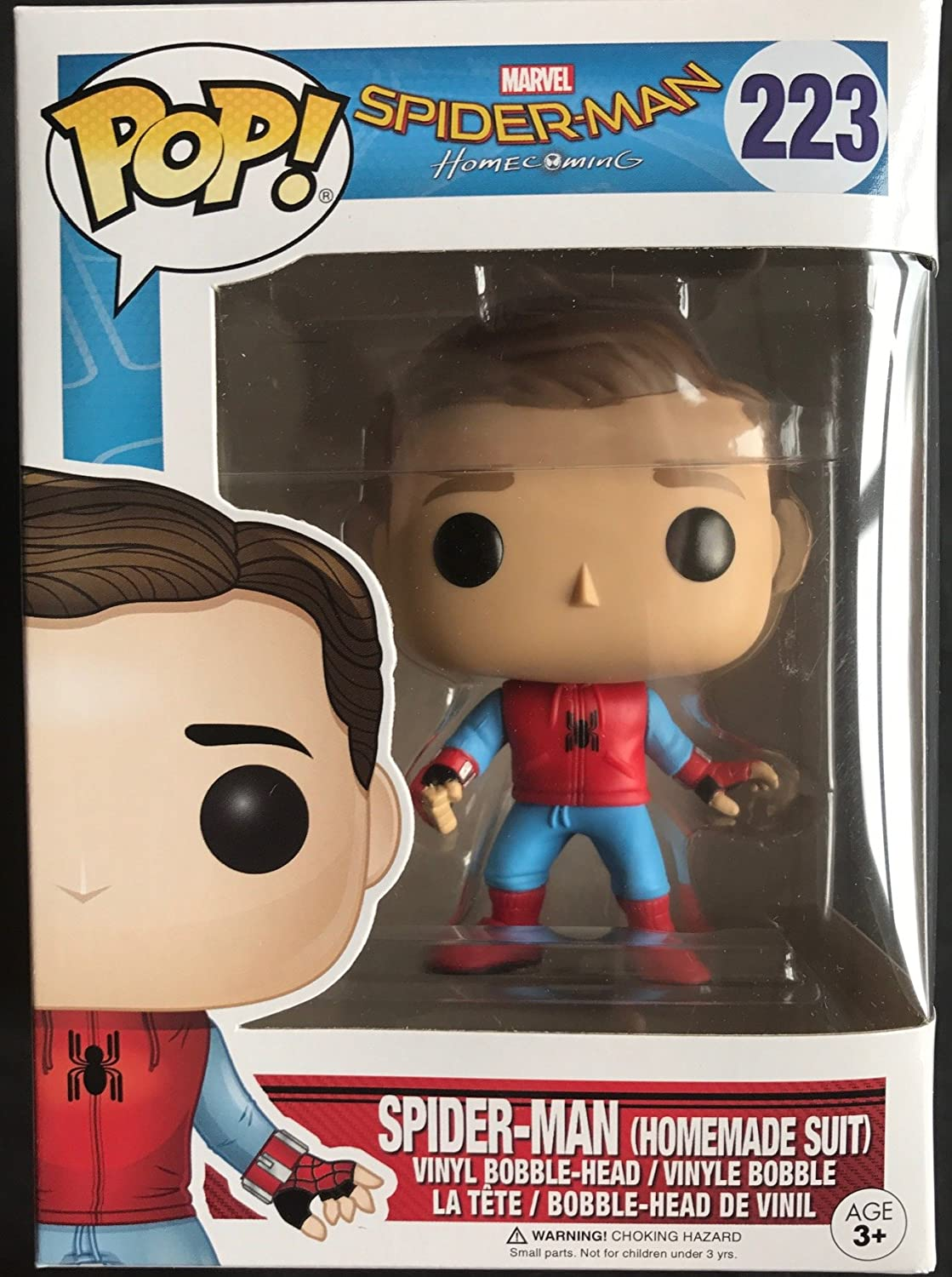 Funko POP Spider-Man Homecoming Walmart Exclusive Spider-Man Homemade Suit Unmasked #223