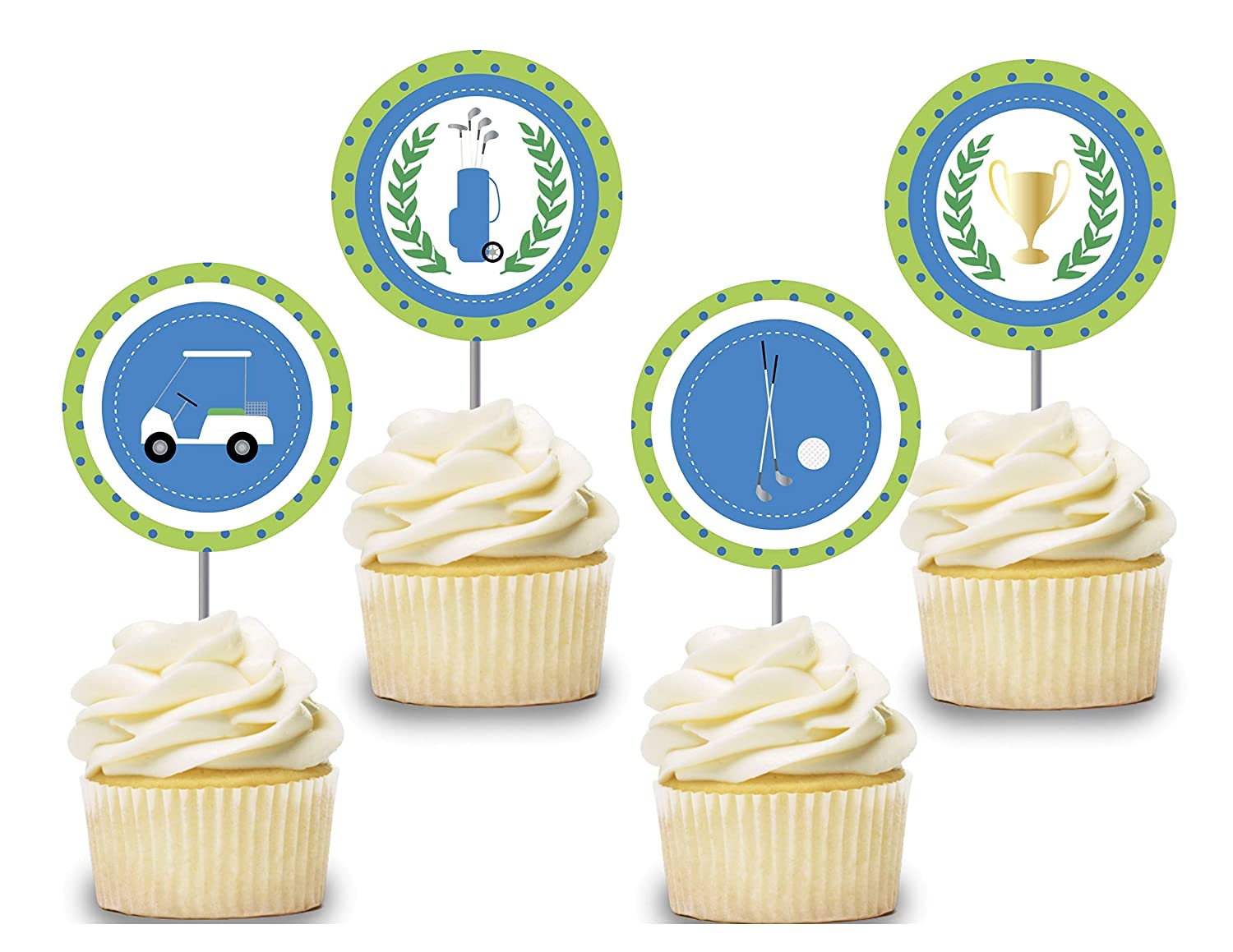 Golf Cupcake Toppers 12 pcs, Boy Cake Picks Birthday Decoration, Party Supplies, Golf Cart Themed Baby Shower